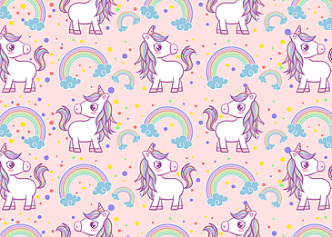 cute unicorn colorful red color dot pattern background