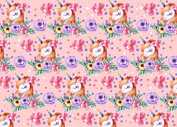 cute unicorn flower background