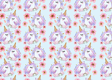 cute unicorn flower rainbow background