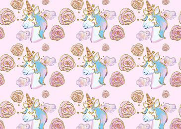 cute unicorn gold rim rose flower background