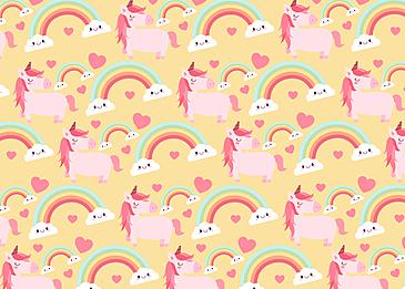 cute unicorn love yellow background