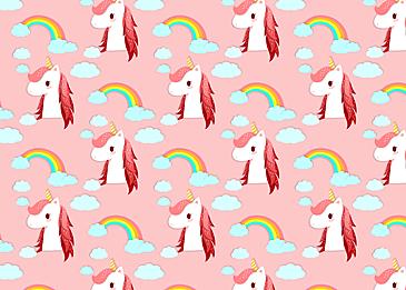 cute unicorn rainbow cloud pattern background