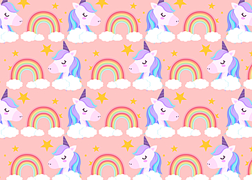 cute unicorn rainbow clouds background