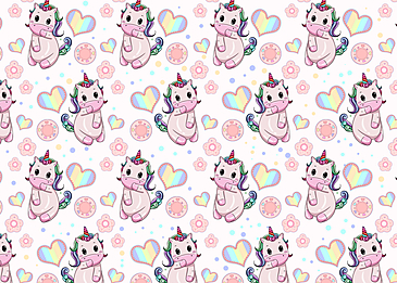 cute unicorn rainbow heart shaped background