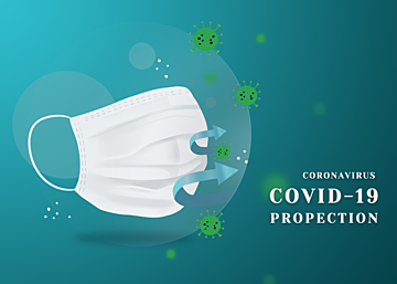 green gradient new crown virus protection mask background