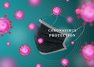 green new crown virus protection mask background
