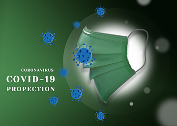 mask green gradient new crown virus protection background