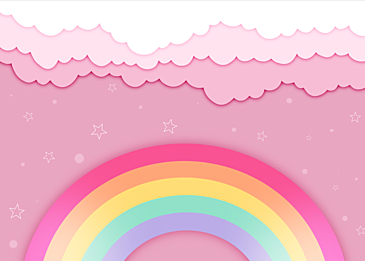 pink paper cut rainbow clouds background