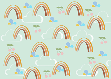 rainbow clouds tile background