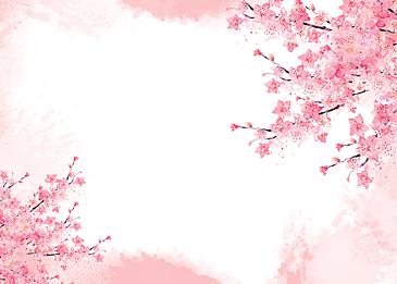 sakura tree blooming watercolor smudge background