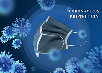 blue minimalist new crown virus protection mask background