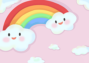 cute clouds rainbow background