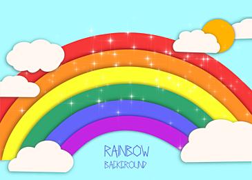 cute paper cut clouds rainbow background
