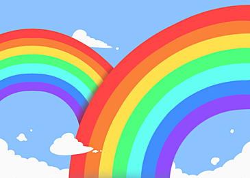 cute rainbow clouds background