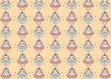 cute unicorn donut swimming circle background