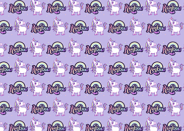 cute unicorn on purple tiled background