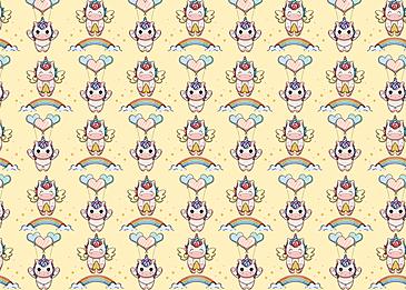 cute unicorn rainbow balloon pattern background