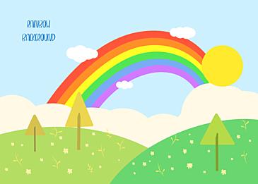 grass cute rainbow clouds background