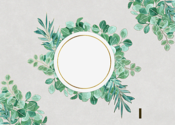 green watercolor leaf flower border background