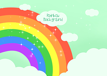light green rainbow clouds background