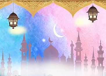 pink blue gradient eid mubarak ramadan background
