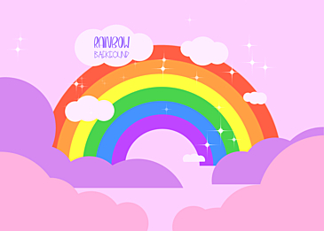 rainbow clouds pink background