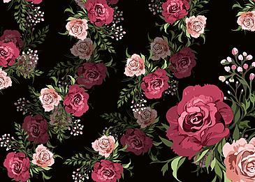 seamless retro flower rose flower background
