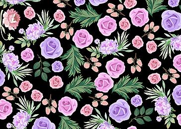 seamless retro flowers black background