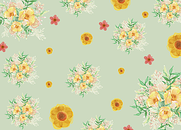 seamless retro flowers on green background