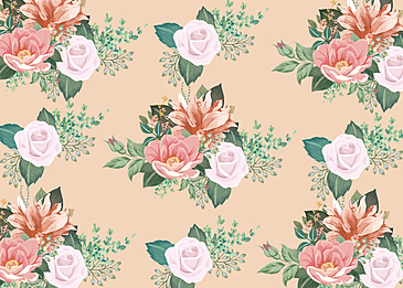 seamlessly tiling retro flowers background