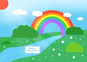 sky blue sky grass rainbow clouds background