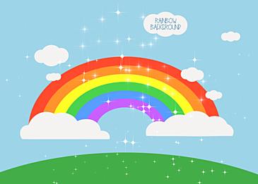 sky grass rainbow clouds background