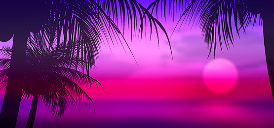 summer abstract silhouette of sunset view by the sea