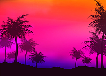 summer abstract silhouette with evening sky