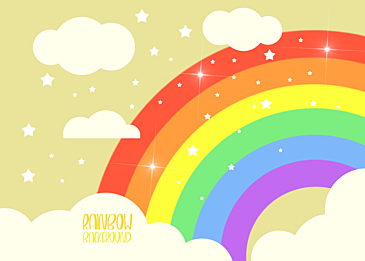 yellow rainbow clouds background