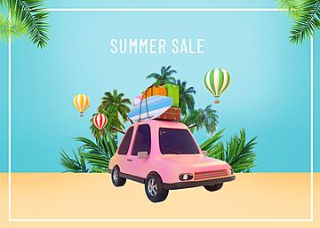 3d car summer promotion travel background