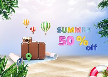 3d scene summer sky promotion background