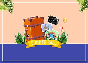 3d scene summer travel promotion background