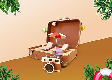 3d suitcase summer tropical plant promotion background