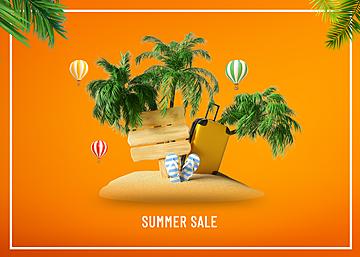 3d summer beach travel promotion background