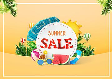 3d summer colorful fruit promotion background