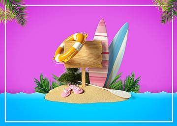 3d summer promotion background