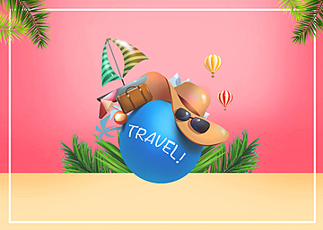 3d summer promotion travel colorful background