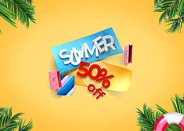 3d summer shopping promotion colorful background