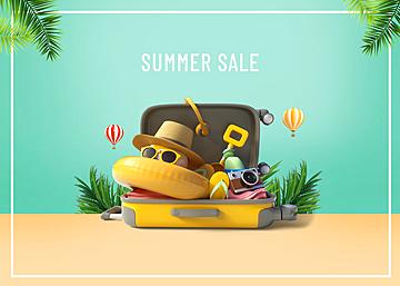 3d summer suitcase scene promotion background