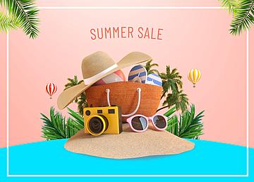3d summer travel camera promotion background