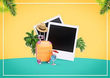 3d summer travel promotion background