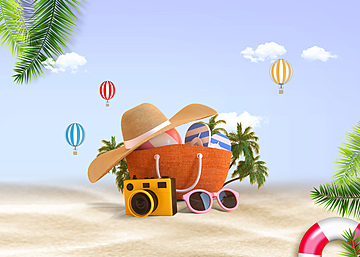 3d summer tropical beach promotion background
