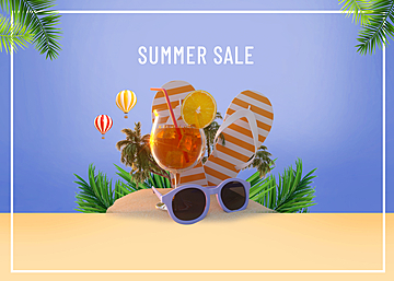 3d summer tropical promotion beach background