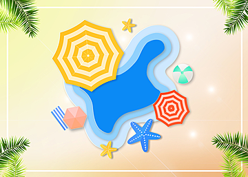 3d summer tropical sun umbrella promotion background